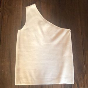 One shoulder light sweater weight top.